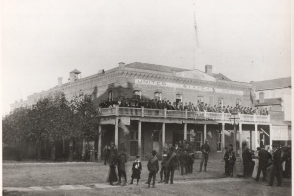 US Hotel with dignitaries on balcony